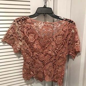 Cute pink floral lace top